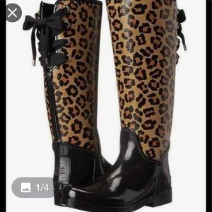 Coach Tristee Animal print rain boots.